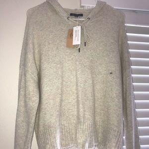 Oversized American Eagle cream hooded sweatshirt